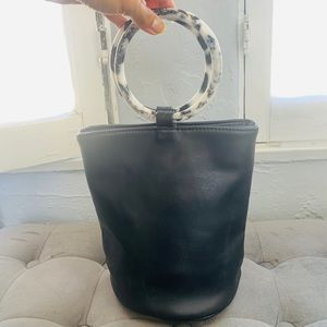 Nastygal Black Purse with Marble Handles